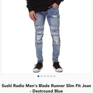 Men's destroyed light wash jeans